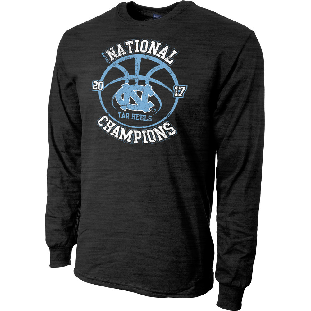 North Carolina Tar Heels 2017 National Basketball Champs Long Sleeve Tshirt Charcoal Image a