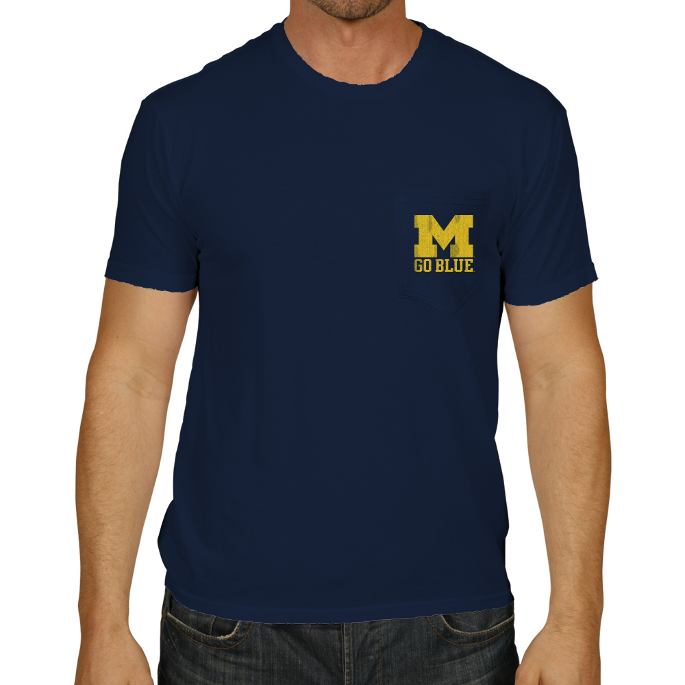 Michigan wolverines retro pocket tshirt navy rb128 for Michigan state t shirts vintage