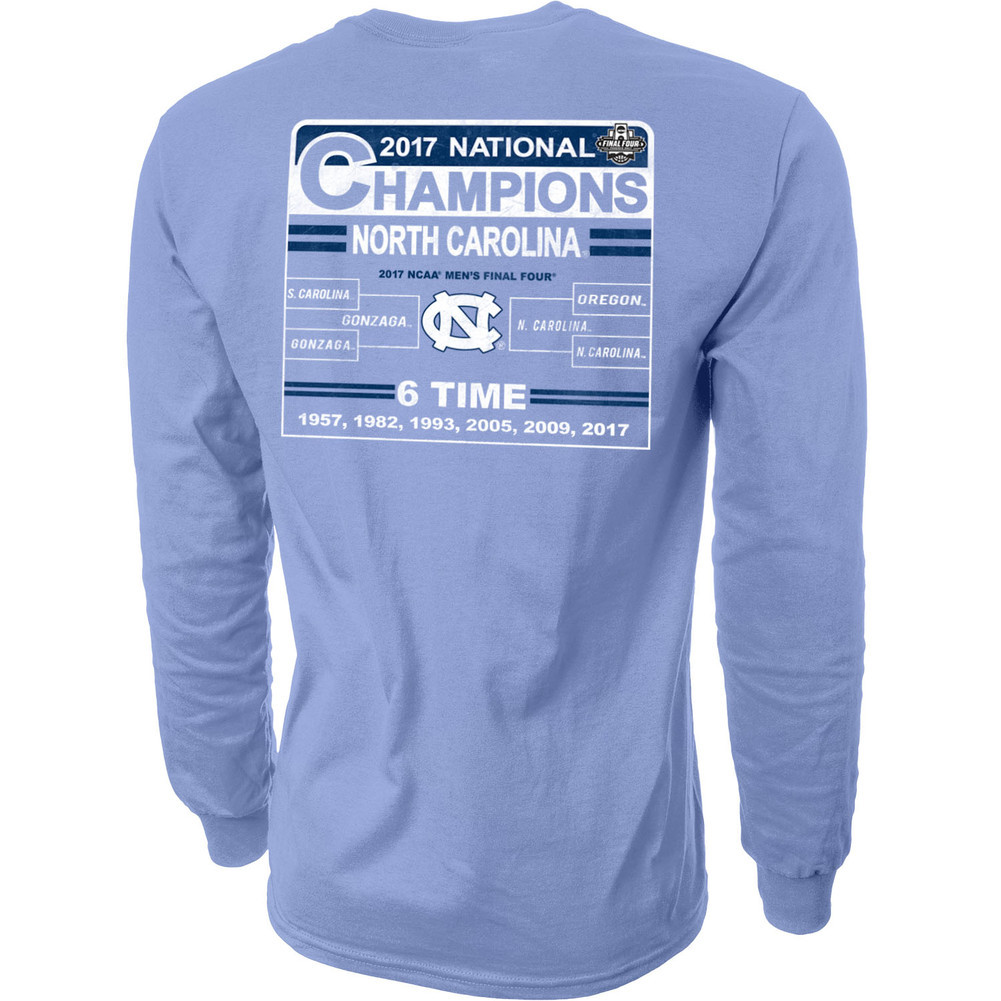 North Carolina Tar Heels 2017 National Basketball Champs Long Sleeve Tshirt Blue Image a